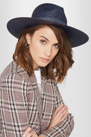 Chloe leather-trimmed straw Panama hat