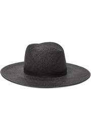 Lynn leather-trimmed straw Panama hat