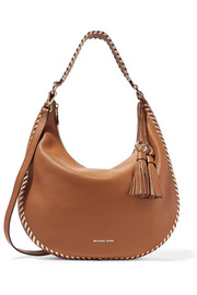 Lauryn large whipstitched textured-leather shoulder bag