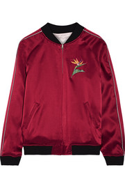 Reversible embroidered silk-satin bomber jacket