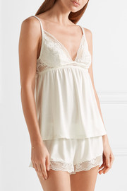 Noor lace-trimmed stretch-modal jersey camisole