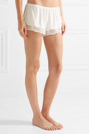 Noor lace-trimmed stretch-modal jersey pajama shorts