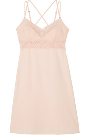 Zelia lace-trimmed stretch-cotton chemise