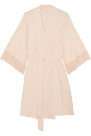 Zelia lace-trimmed stretch-cotton robe