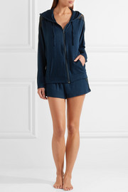 Eberjey Cara lace-paneled slub stretch-jersey hooded top