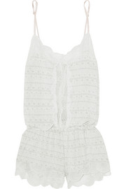 Encajes lace-trimmed printed stretch-modal jersey playsuit