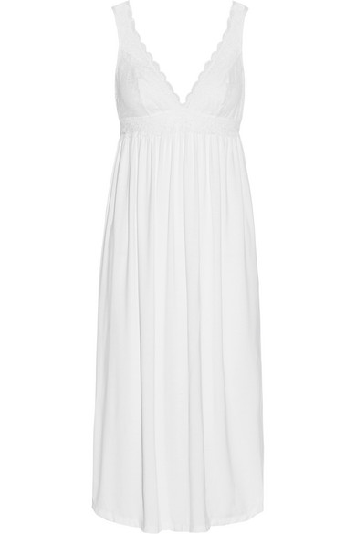 Eberjey - Kiss The Bride Lace-trimmed Stretch-modal Jersey Nightdress - White