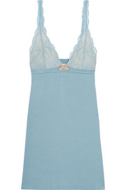 Romina lace-trimmed stretch-modal jersey chemise