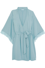 Romina lace-trimmed stretch-modal jersey robe