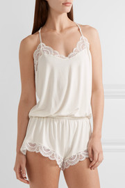 Marry Me lace-trimmed stretch-modal jersey playsuit