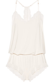 Eberjey Marry Me lace-trimmed stretch-modal jersey playsuit