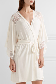 Marry Me lace-trimmed stretch-modal jersey robe