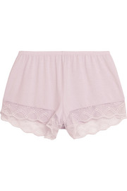 Georgina lace-trimmed stretch-modal jersey pajama shorts
