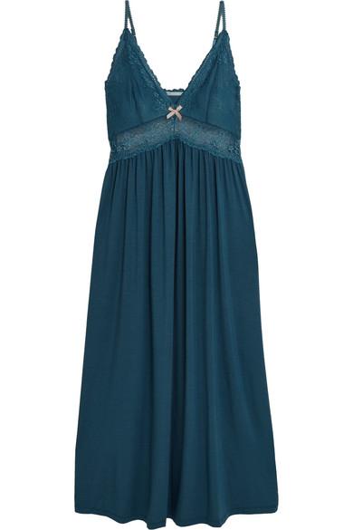 Eberjey - Colette Lace-paneled Stretch-modal Jersey Chemise - Storm blue