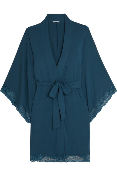 Eberjey - Colette Lace-trimmed Stretch-modal Jersey Robe - Storm blue