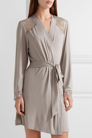 Noor lace-trimmed stretch-modal jersey robe