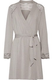 Eberjey Noor lace-trimmed stretch-modal jersey robe