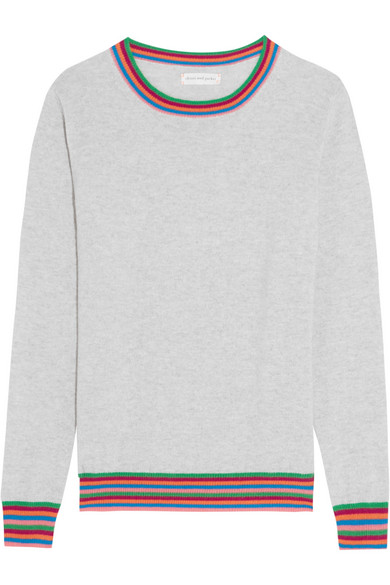 Chinti and Parker - Stripe Cuff Cashmere Sweater - Gray