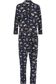 Printed silk-blend crepe de chine jumpsuit