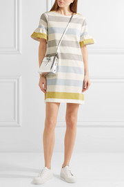 Chinti and Parker Ruffle-trimmed striped cotton mini dress