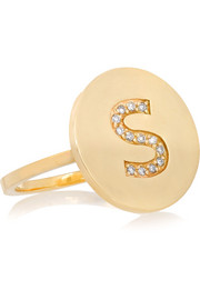 Letter 18-karat gold diamond ring