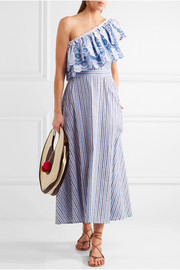 Belle one-shoulder striped cotton and linen-blend midi dress