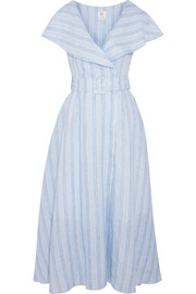 Gül Hürgel Belted striped linen midi dress