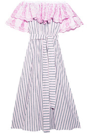 Off-the-shoulder striped cotton and linen-blend dress