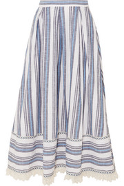 Lace-trimmed striped cotton and linen-blend skirt