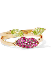 18-karat gold, peridot and ruby ring