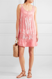 Melissa Odabash Jaz crochet-trimmed embroidered voile mini dress