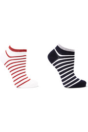 Set of two striped cotton-blend socks