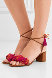 AquazzuraWild Thing fringed suede and leather sandals