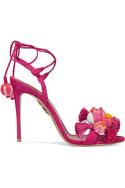 Tropicana tasseled beaded suede sandals