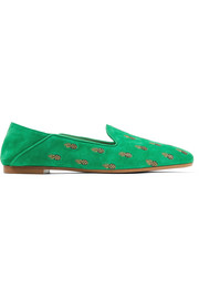 Ananas embroidered suede slippers