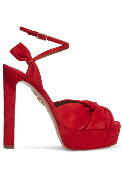 Aquazzura - Movie Star Suede Platform Sandals - Red