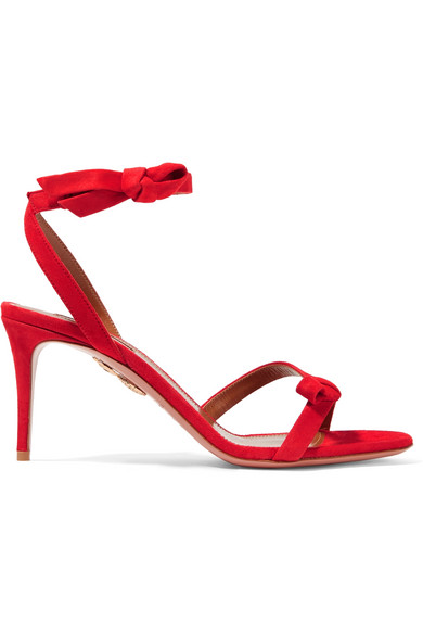 Aquazzura - Passion Bow-embellished Suede Sandals - Red