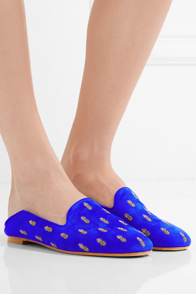 AQUAZZURA 10Mm Pineapple Summer Suede Loafers, Royal Blue