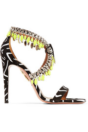 Milla crystal-embellished printed suede sandals