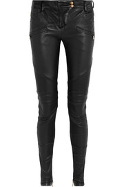 Balmain Moto-style leather skinny pants