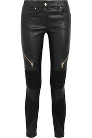 Givenchy Skinny pants in black leather and stretch-knit