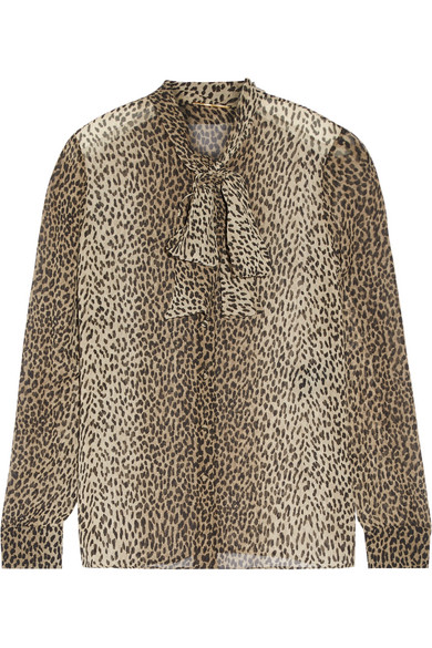 b9daa410457e8 Saint Laurent. Pussy-bow leopard-print silk-georgette shirt