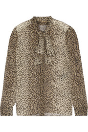 Saint Laurent Pussy-bow leopard-print silk-georgette shirt