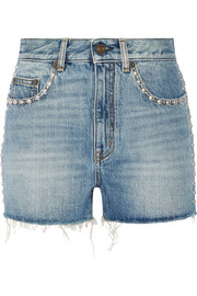 Saint Laurent Studded high-rise denim shorts