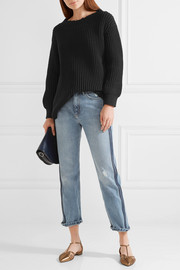 The Open Neck ribbed cotton-blend sweater