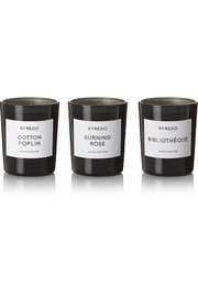 Burning Rose, Bibliothèque and Cotton Poplin set of  three candles, 3 x 70g