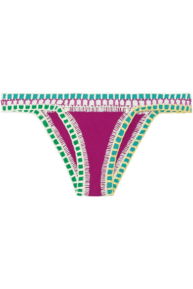 Kiini - Coco Crochet-trimmed Triangle Bikini Briefs - Plum