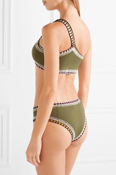 Kiini Wren asymmetrisches Bikini-Oberteil mit Häkelbesatz