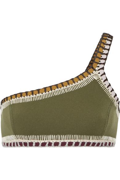 Kiini - Wren One-shoulder Crochet-trimmed Bikini Top - Army green