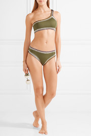 Wren one-shoulder crochet-trimmed bikini top